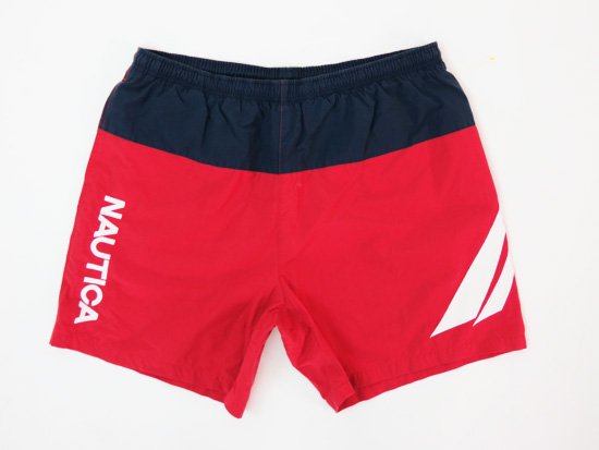 Vintage Nautica Red Spell Out Swim Shorts 5 Star Vintage