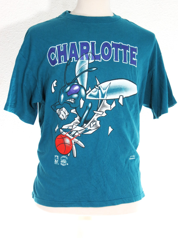 1990 charlotte hornets double print t shirt 5 star vintage for T shirt printing in charlotte nc